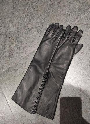 Перчатки длинные, кожа