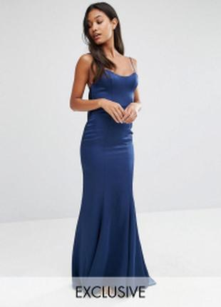 Атласное платье‑комбинация макси с годе fame and partners из сайта asos
