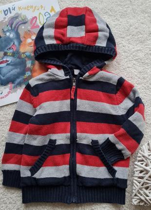 Теплая кофта на замке с капюшоном tu для мальчика 2-3 года рост 92-98см
