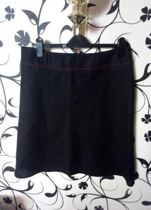 Очень качественная юбка,  черная,  натуральный лен, без подкладки,миди.