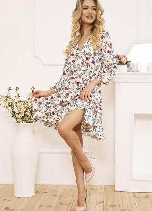 Платье в цветочный принт, р-р s, платьице, сарафан, цветы, 115r395-4
