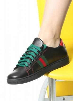 Кожаные женские черные кроссовки кеды с цветными вставками натуральная кожа