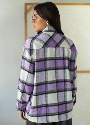 Теплая рубашка из пальтовой ткани в клетку2 фото