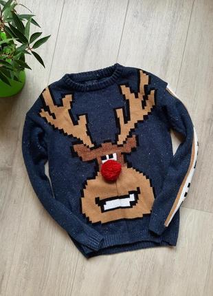 Свитер новогодний на мальчика некст next новогодняя одежда с оленем