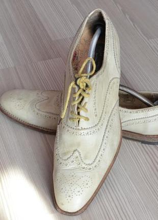 Шикарные ажурные кожаные мужские ботинки vero cuoio original-41,42р стелька 28см италия