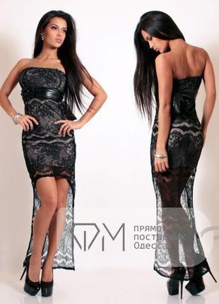 Чёрно-бежевое кружевное платье