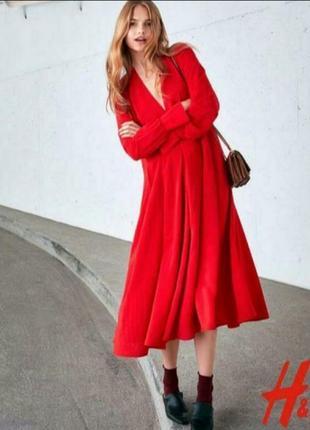 🌸 яркое красное платье миди на запах от h&m