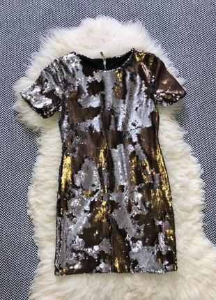 Новогоднее вечернее праздничное платье мини пайетки корпоратив