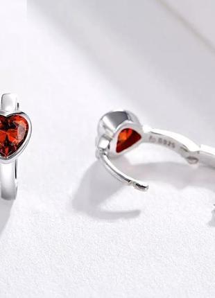 Красивые серьги красные сердца ❤️ в стиле pandora серебро 925