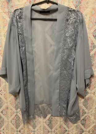 Нежная накидка кардиган кимоно кружево пляжная накидка