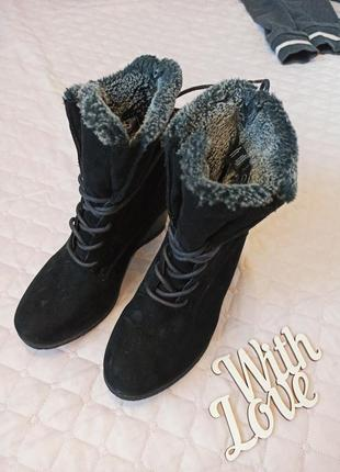 Теплые зимние замшевые женские сапоги ботинки 36 размер
