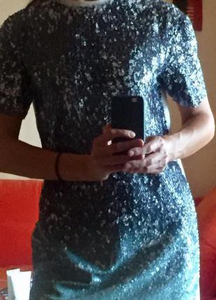 Туника-платье zara в паетках