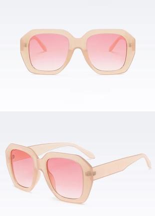 Очки тренд 2021 большие квадратные солнцезащитные розовые бежевые ретро окуляри
