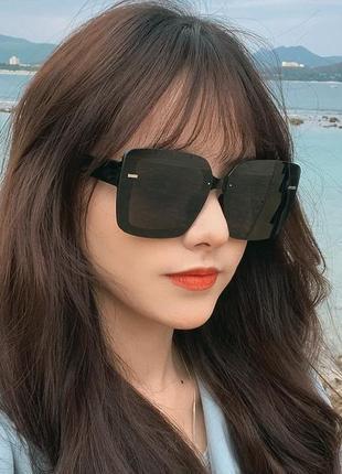 Черные квадратные солнцезащитные очки ретро большие окуляри сонцезахисні чорні