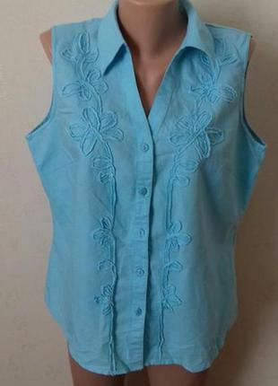 Голубая льняная блуза debenhams