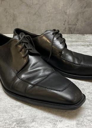 Туфли hugo boss, кожаные, черные