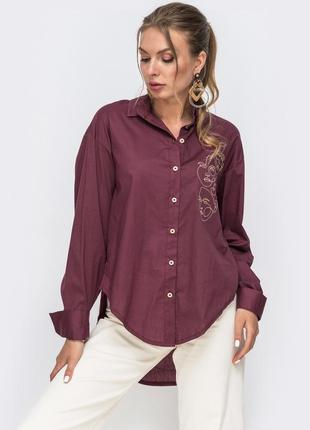 Рубашка стильная женская 2021 бордовая бежевая хлопок