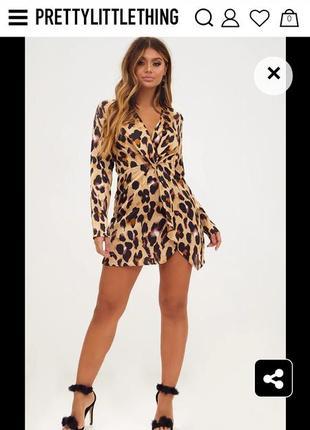 Сатиновое платье, принт леопард