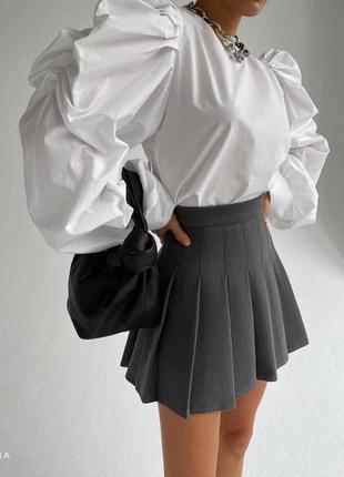 Юбка серая , юбка плиссе