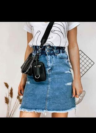 Джинсовые юбки на резинке