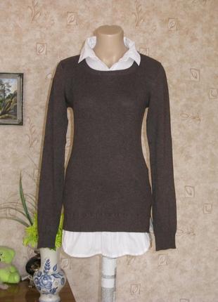 Пуловер длинный коричневый/пуловер в рубчик