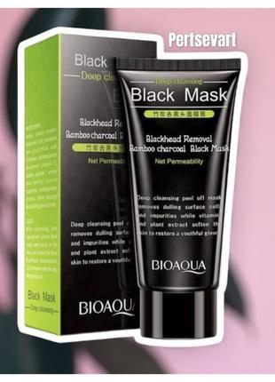 Маска от черных точек bioaqua blackhead removal bamboo charcoal black mask