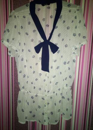 Блуза шифон, в модный принт