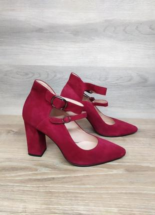 Замшевые туфли на каблуке - натуральная замша , 37 размера model 2161