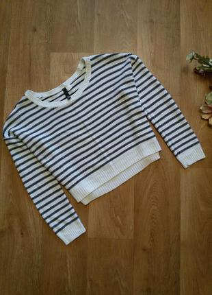 Укороченный свитер оверсайз oversize в полоску