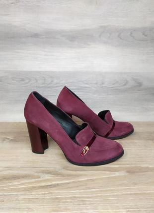 Замшевые туфли на каблуке - натуральная замша , 36 размера model 2162