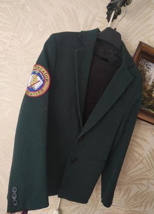 Форма шкільна для хлопчика темно зелена жакет піджат брюки штани