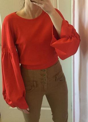 Кроп топ свитер, свитшот, укороченый, рукава буфы, объемные большие рукава, zara knit