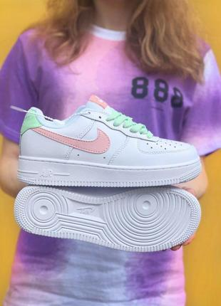 Air force 1 pink pastel/green пастельные кроссовки