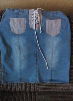 Юбка, джинсовая  юбка,  юбка на шнуровке,  юбка с карманами