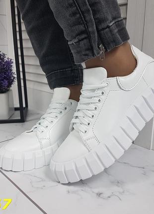 Кроссовки кеды белые натуральная кожа на высокой платформе