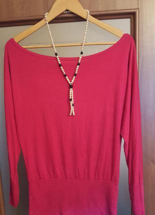 Классная розовая блуза с вырезом лодочкой