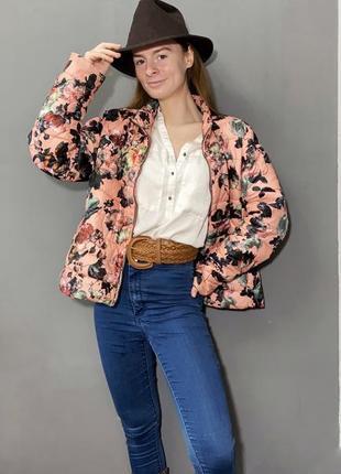 Демисезонная курточка amisu цветочный принт винтаж