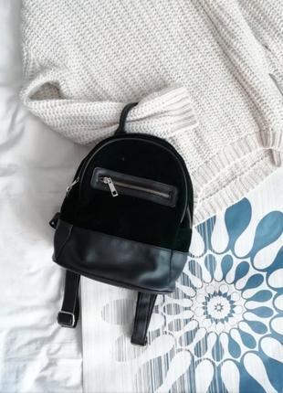 Портфель рюкзак зеленый изумрудный черный замшевый кожаный среднего размера