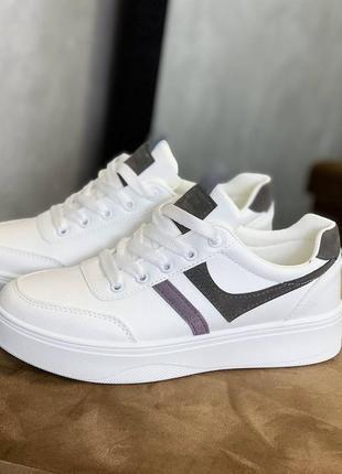 Кроссовки, белые, эко-кожа, весенние