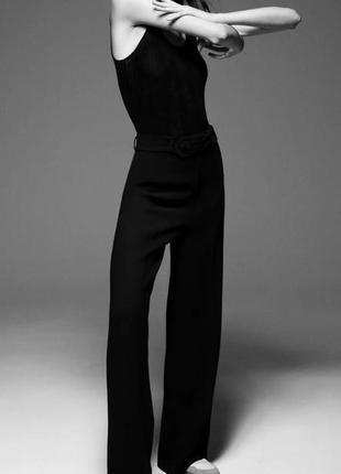 Черные брюки с поясом, высокой посадки