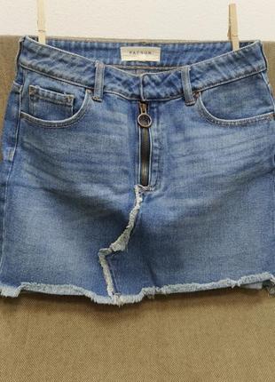 Джинсовая юбка мини, джинс, на размер s, m