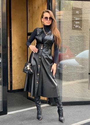 Ультрамодный черный сарафан миди из эко-кожи платье экокожа