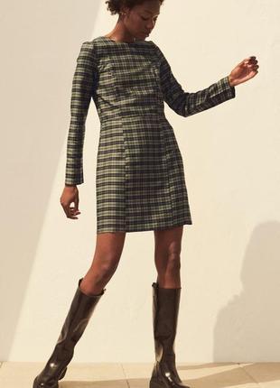 Платье с рукавами, клетка