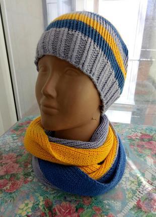 Шапка и шарф-снуд ручной работы