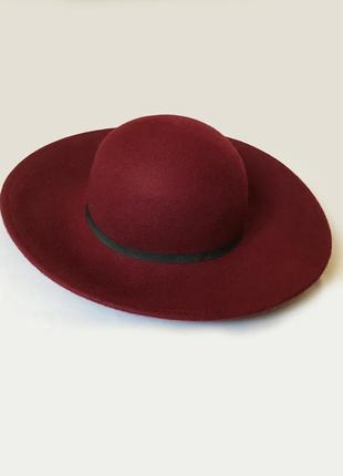 Шерстяная шляпа котелок бордовая марсала винная 56 57