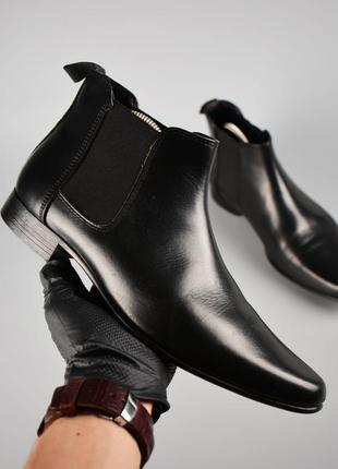 Asos оригинал! черные мужские туфли челси кожаные с удлиненным носком размер 42