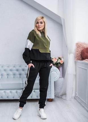 Женский трикотажный костюм с штанами разные цвета геометрия, черный, хаки