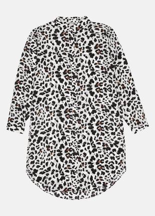 Платье рубашка шелковое h&m 34 белый леопардовый 4283944rp5