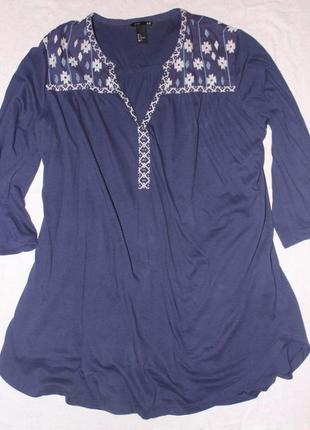 Блуза с вышивкой h&m 50-54 р.