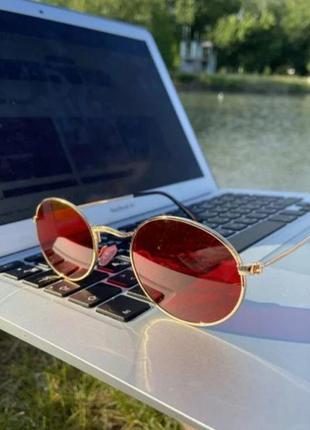 Солнцезащитные очки овальные красные ❤️